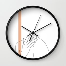 Hands line drawing illustration - Danna stripe Wall Clock