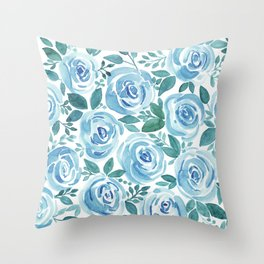 Pale blue roses . Watercolor . Throw Pillow