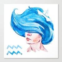 aquarius Canvas Prints featuring Aquarius by Aloke Design