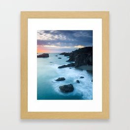 Oregon Coast Sunset at Thunder Rock Cove Framed Art Print