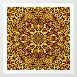 Floral Autumn Garden Mandala Art Print