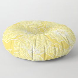 Sunshine Yellow Poppies Floor Pillow