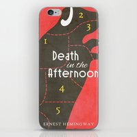 hemingway iPhone & iPod Skins featuring Death in the Afternoon, Erenst Hemingway - Book Cover by Stefanoreves