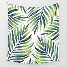 Tropical leaves. White pattern Wall Tapestry