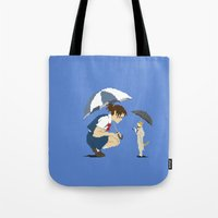 returns Tote Bags featuring Cat Returns by 8-bit Ghibli