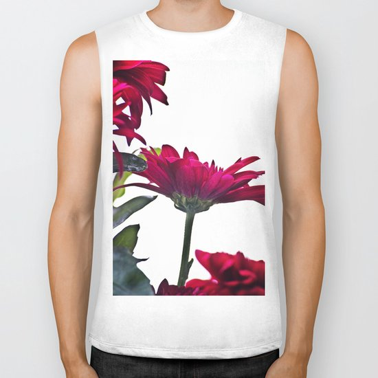 Red Chrysanthemum Flowers Biker Tank