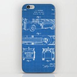 Fire Truck Patent - Aerial Fireman Truck Art - Blueprint iPhone Skin