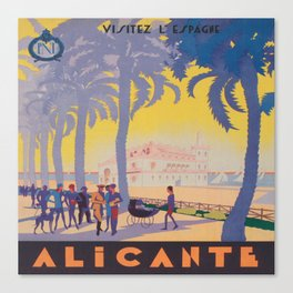 Alicante, Spain Vintage Travel Poster Canvas Print