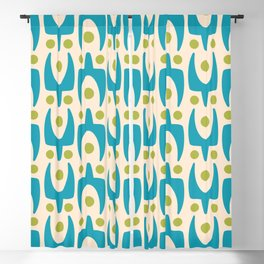 Mid Century Modern Abstract Pattern 151 Turquoise and Chartreuse Blackout Curtain