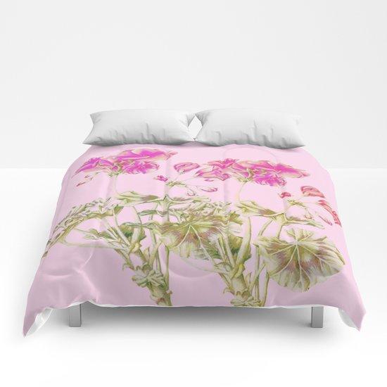 simple pink geranium Comforters