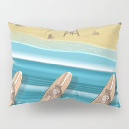 Team Pugs Surfing Pillow Sham