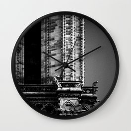 shot on film .. gargoyles of notre dame Wall Clock