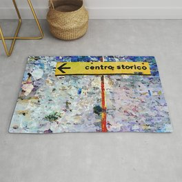 Borrello: road sign and clothes pegs Rug