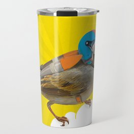 Little bird on little cloud 2 Travel Mug