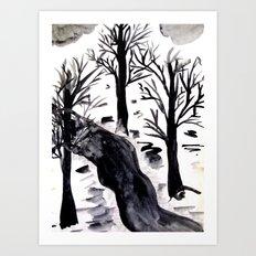 Black Crystall Frost Art Print