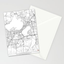 Madison Map White Stationery Cards