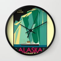 alaska Wall Clocks featuring Alaska by Kathleen Casey