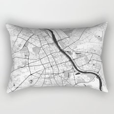 Warsaw Map Gray Rectangular Pillow