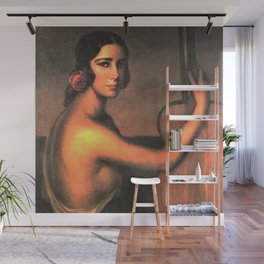 Classical Masterpiece 'A Manola with Her Guitar' by Julio Romero De Torres Wall Mural
