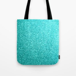 Aqua Blue Glitter Tote Bag