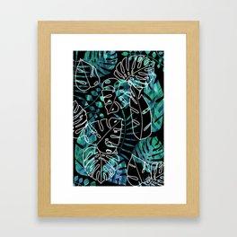 Dark tropical leaves pattern Framed Art Print