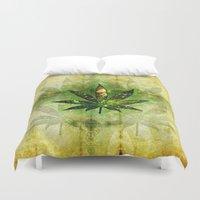 marijuana Duvet Covers featuring Marijuana Leaf - Design 3 by Spooky Dooky