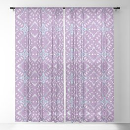 Frosted Sea Glass Mosaic Pattern Sheer Curtain