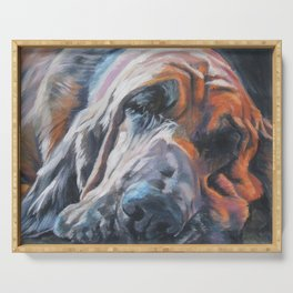 Bloodhound dog portrait Fine Art Dog Painting by L.A.Shepard Serving Tray
