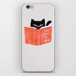 Cat reading book iPhone Skin