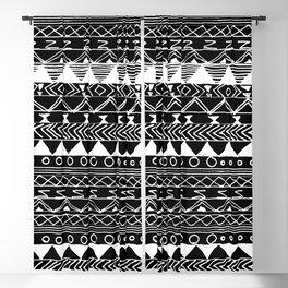 Artistic White black hand drawn aztec pattern Blackout Curtain