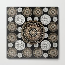 Black, Silver, and Rose-Gold Mandala Patterned Textile Metal Print