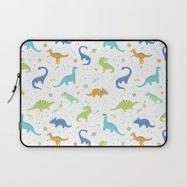 Space Dinosaurs on White (Orange + Blue) Laptop Sleeve