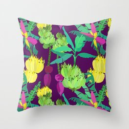 Banana Bunches in Dark Orchid Throw Pillow
