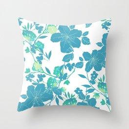Botanical Blues Throw Pillow