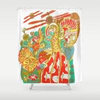 voyage Shower Curtains featuring Voyage by Estela Gaspar