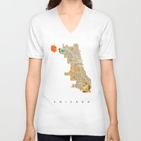 chicago V-neck T-shirts featuring Chicago by Nicksman