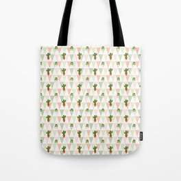 Hand painted pink coral green geometrical cactus Tote Bag