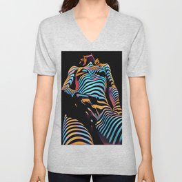 1813s-AK Zebra Striped Woman Hand on Pubis Rendered Composition Style by Chris Maher Unisex V-Neck