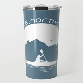 Asheville - Kayaking - AVL 9 White on Greyblue Travel Mug