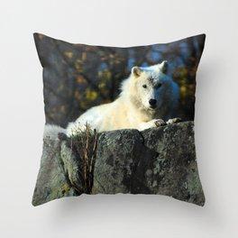 Sentinel: Arctic Wolf Throw Pillow