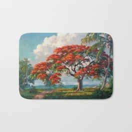 Royal Poinciana Tropical Florida Keys Landscape by A.E. Backus Bath Mat