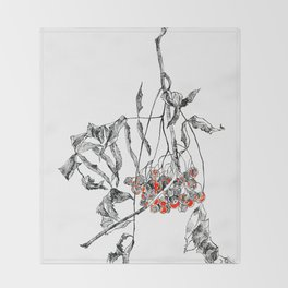 rowan branch with dried leaves and berries Throw Blanket