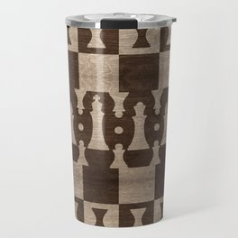 Chess Pieces Pattern - wooden texture Travel Mug