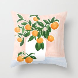 Orange Tree Branch in a Vase Throw Pillow