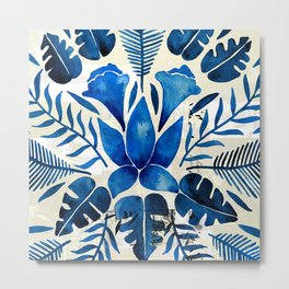Tropical Symmetry – Navy Metal Print