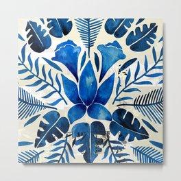 Tropical Symmetry – Navy Metal Print