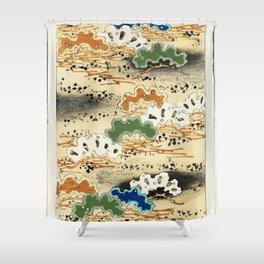 Landscape  from Bijutsu Sekai (1893-1896) by Watanabe Seitei a prominent Kacho-ga artist Shower Curtain