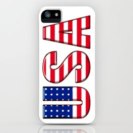 United States Font with American Flag iPhone Case