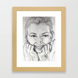 Daydream portrait graphite drawing Framed Art Print