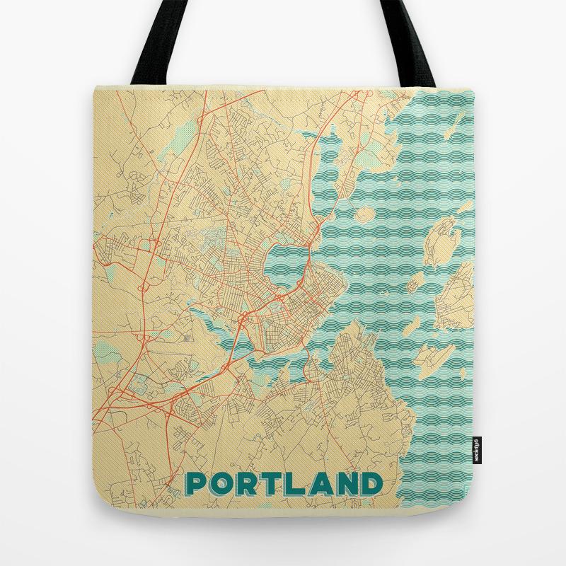 Portland Maine Map Retro Tote Purse by Hubertroguski (TBG6121472) photo
